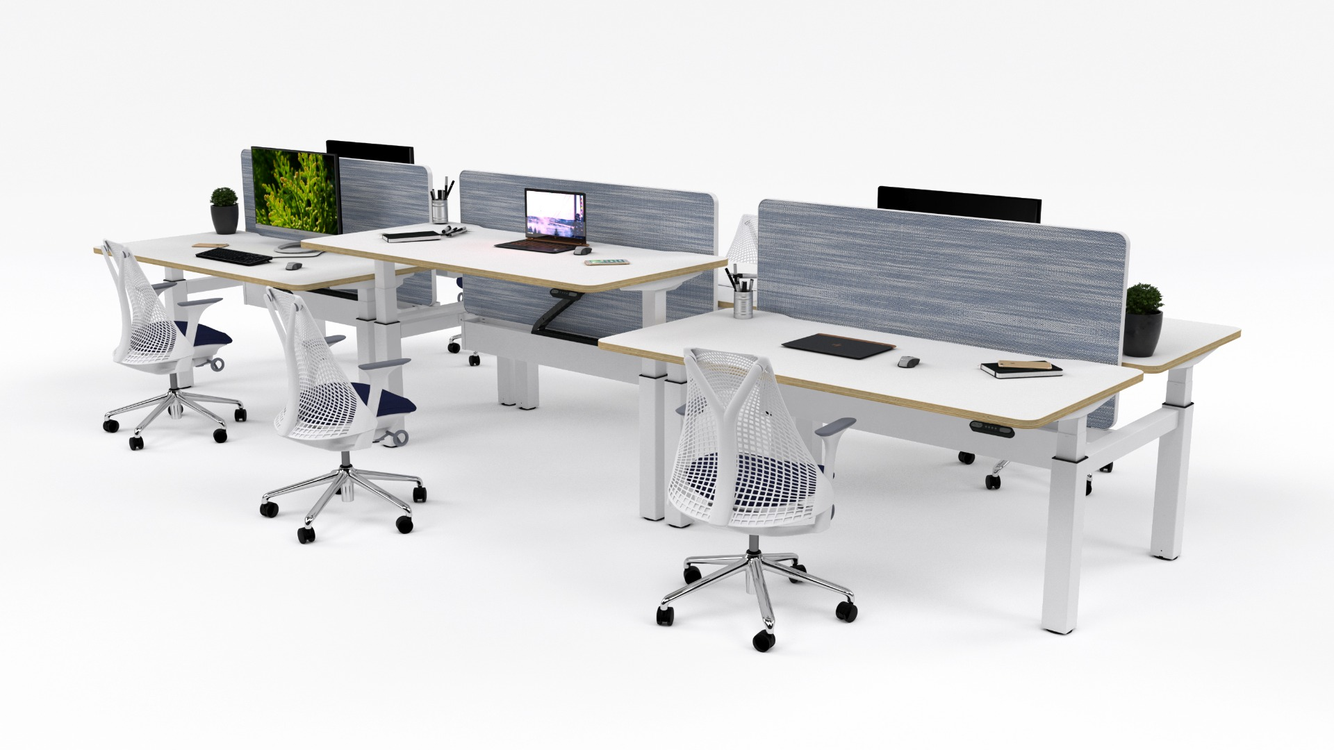 Bench Six Person White Desk Office desk uk