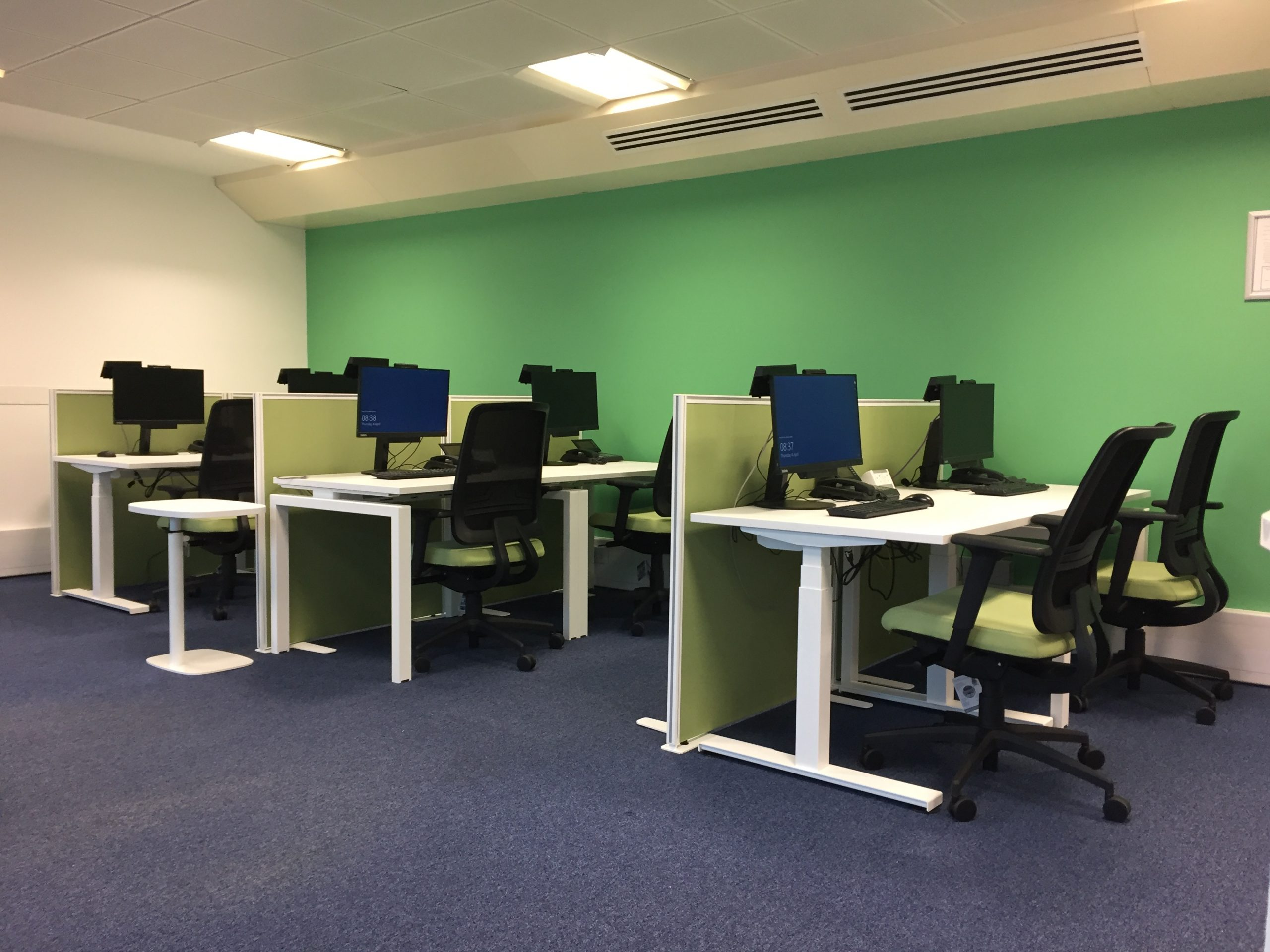 Training Room with Sit Stand Desks and Floor standing Screens scaled