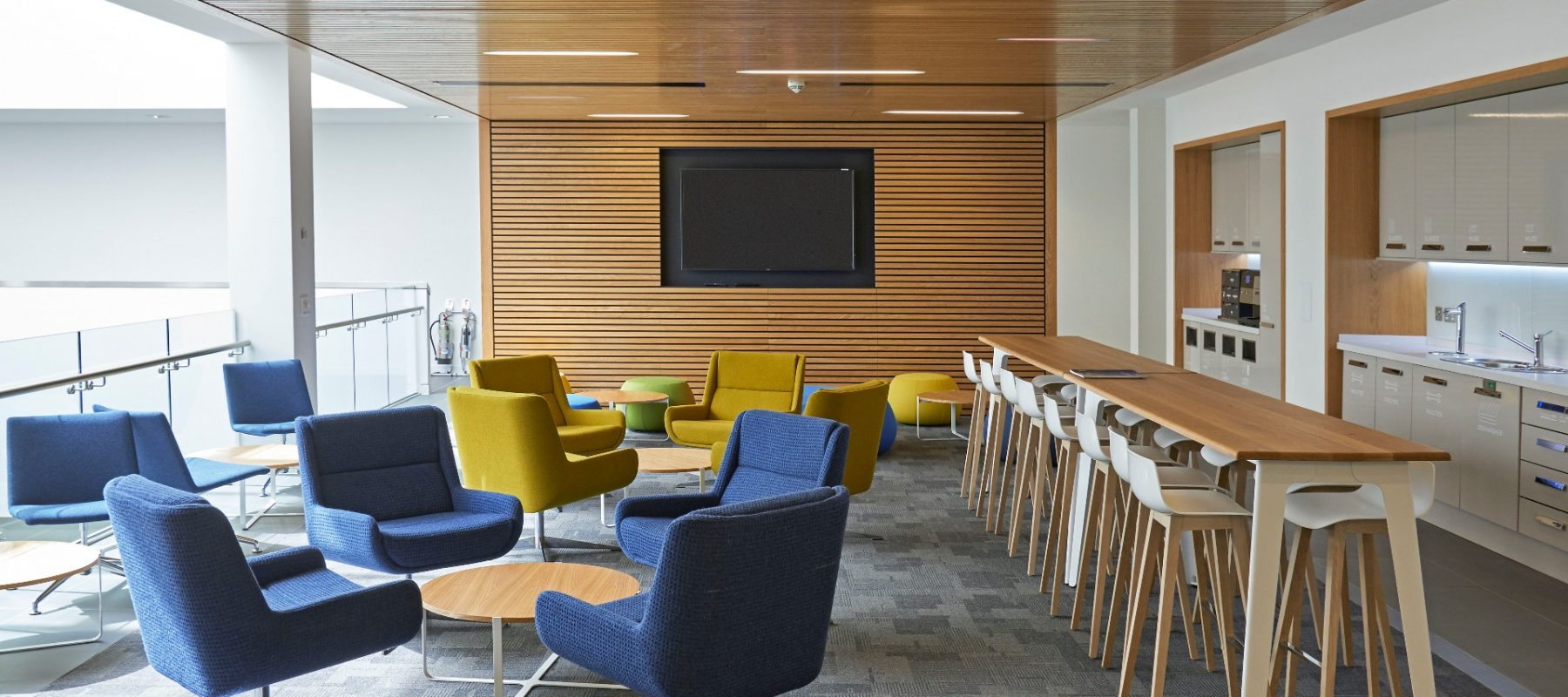 Blue and yellow breakout chairs office furniture solutions Futurefile UK