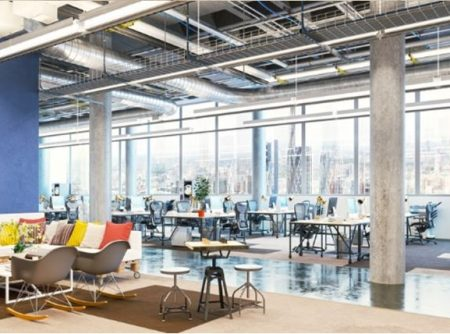 Industial look office design with modern furniture and open space areas