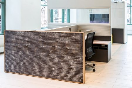 Natural texture end panel for offices