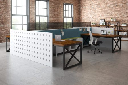 White end panel with circle pattern office interior design