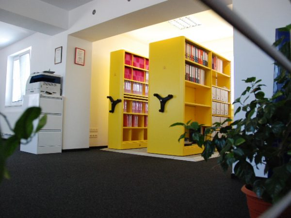 Yellow roller racking systems office furniture colchester Futurefile Ltd